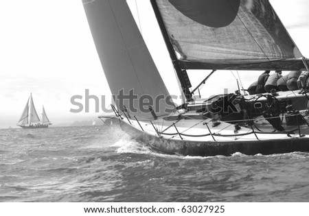 racing in the bay - stock photo
