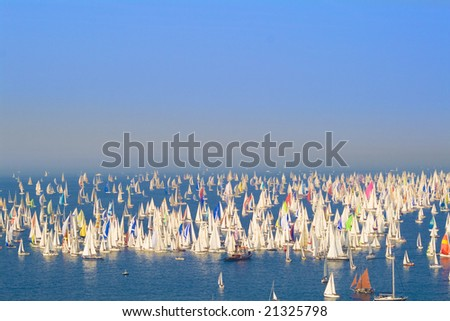 Racing sails boats in the middle of the sea - stock photo