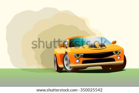 Racing sport car drift, burn-out illustration - stock photo
