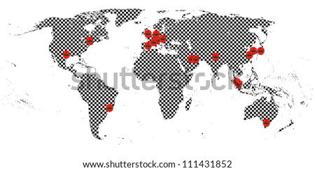 Racing World Tour Map - stock photo