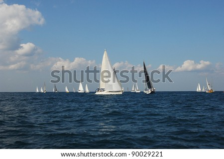 Racing yachts in a  Mediterranean sea - stock photo