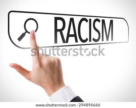 Racism written in search bar on virtual screen - stock photo