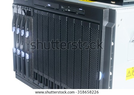 Rack mount blade server system isolated on the white