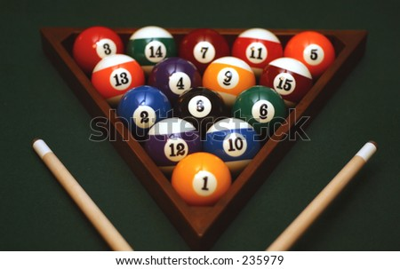 Racked billiard balls - stock photo