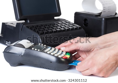 Rackmount LCD Touchscreen Monitor, Card Reader and Receipt Printer with paper shopping bill . Point of Sale System, isolated on white background. - stock photo