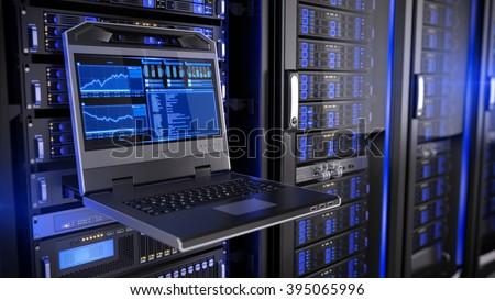 Rackmount LED console in server room data center - stock photo