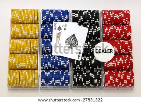 Racks of poker chips