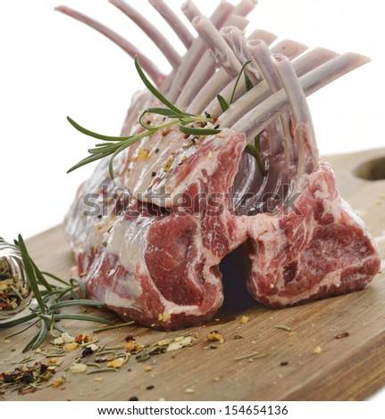 Racks Of Raw Lamb Ribs On White Background - stock photo