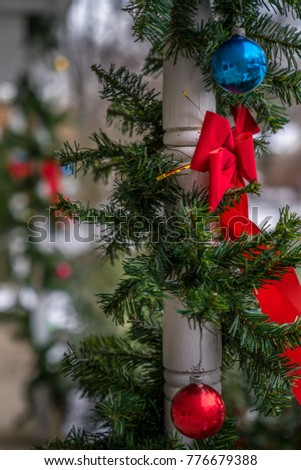 rad bow tie christmas ornaments and evergreen decoration hang on the wood column traditional - How To Tie Decorative Bows For Christmas Decor