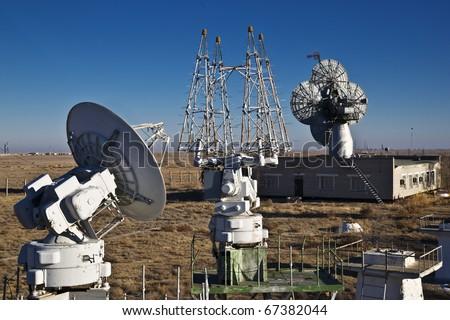 Radar and radar at the airport - stock photo