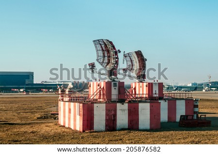 Radar in airport and air traffic control - stock photo