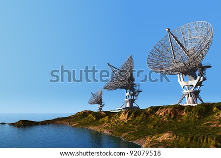 Radar on a background of the sky - stock photo