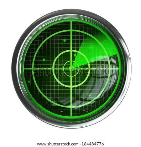 Radar screen isolated on white background High resolution 3d  - stock photo