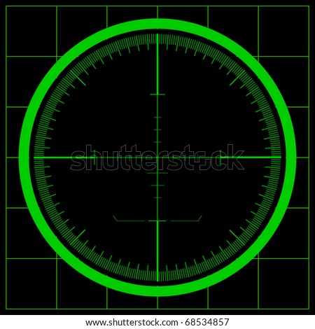 Radar screen or Sniper. Raster version. - stock photo