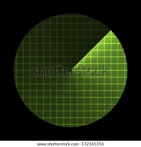 Radar screen, sonar icon. Raster Version - stock photo
