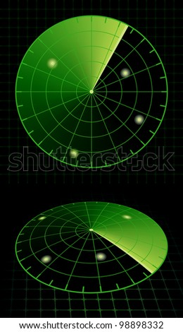 Radar Screen Target Detection. Rasterized Version - stock photo