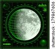 Radar screen with Moon. Detailed raster illustration. - stock photo