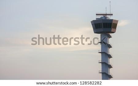 Radar tower airport communication - stock photo