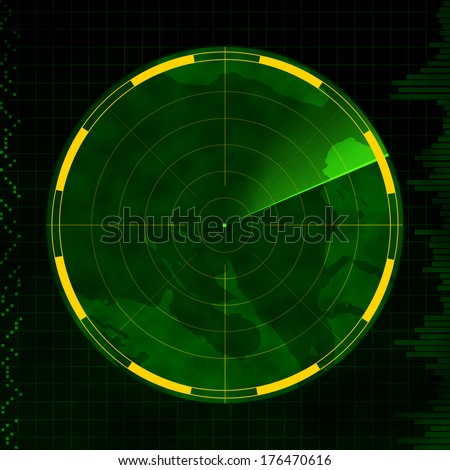 Radar with an empty screen and green sweeping arm. - stock photo