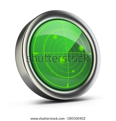 Radar with green screen. 3d image. White background. - stock photo