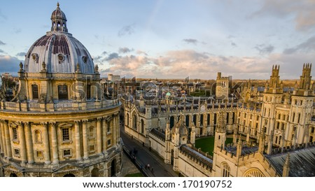 Radcliffe Camera and All Souls College at the university of Oxford. Oxford, England - stock photo