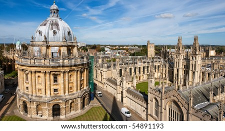 Radcliffe Camera and All Souls College, Oxford University. Oxford, UK. Scaffolding visible. - stock photo