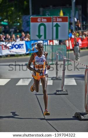 RADENCI - MAY 18: Micah Kiplagat Samoei running on a Marathon in Radenci on May 18, 2013 in Radenci, Slovenija. - stock photo