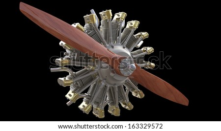 Radial engine and propeller isolated on black background - stock photo