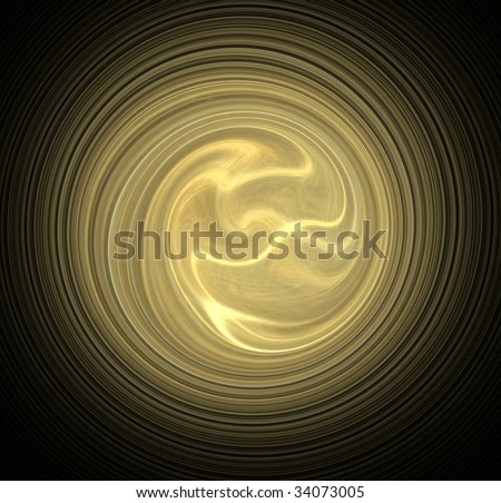Radial golden waves background - stock photo