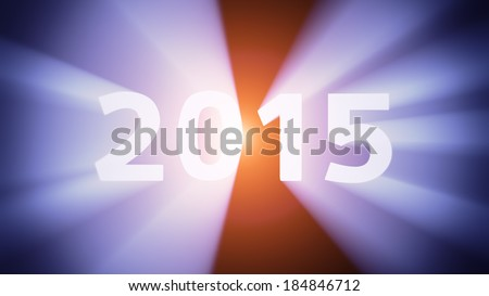 "Radiant light from the digits ""2015"""