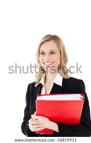 Radiant woman with a red folder against white background