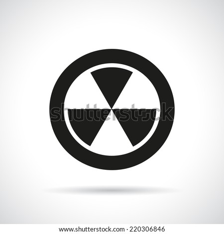 Radiation hazard symbol with a shadow. Black flat icon. Vector version is also available in the portfolio. - stock photo