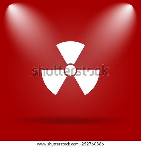 Radiation icon. Flat icon on red background.  - stock photo