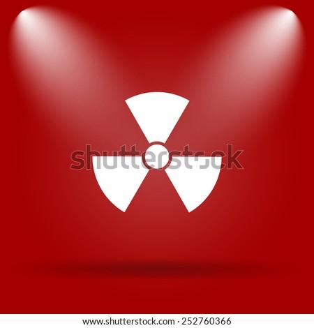 Radiation icon. Flat icon on red background.  - stock photo