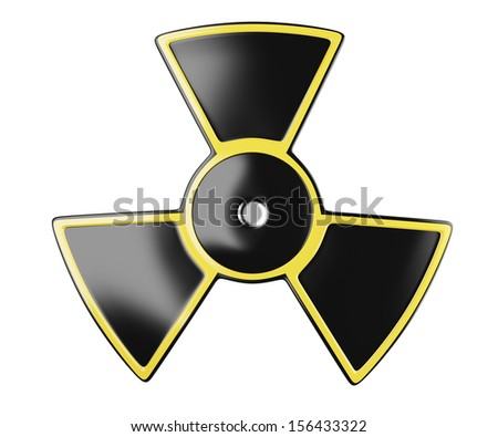 radiation sign isolated on white background. 3d rendered image