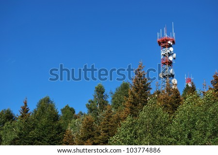 Radio antenna communication tower on the top of a mountain, Italy - stock photo