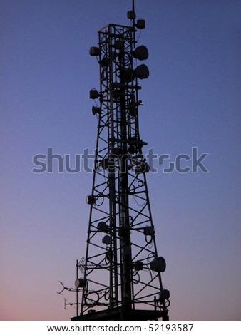 radio communication tower - stock photo