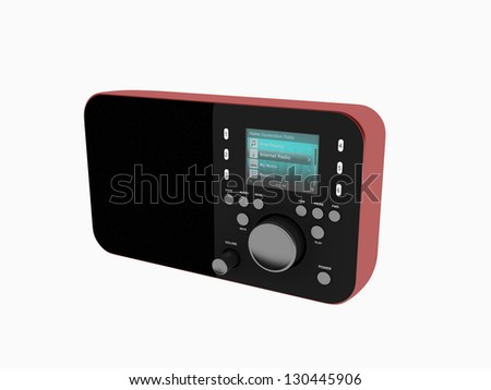 Radio isolated on white - stock photo