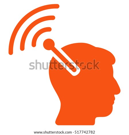 Radio Neural Interface glyph pictogram. Style is flat graphic symbol, orange color, white background.