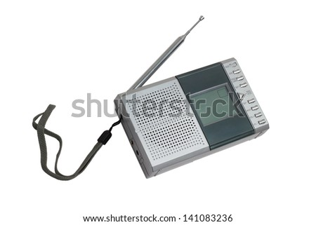 radio portable transistor fm old tuner set isolated fashioned clipping path - stock photo