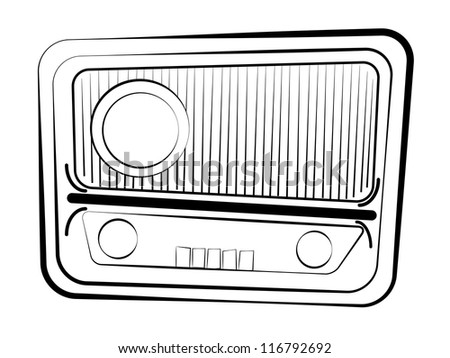 Radio receiver. Raster version of vector illustration. - stock photo