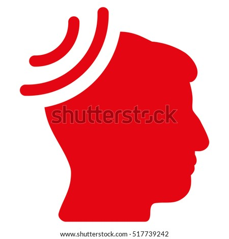 Radio Reception Brain glyph pictogram. Style is flat graphic symbol, red color, white background.