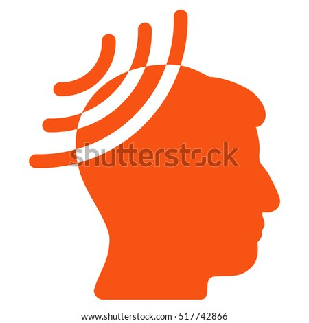 Radio Reception Head glyph icon. Style is flat graphic symbol, orange color, white background.