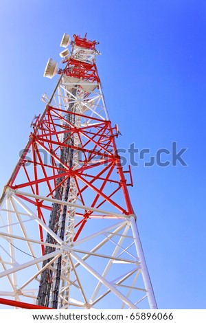 Radio Relay Link, Mobile Base Station. - stock photo