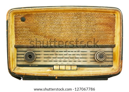 Radio retro isolate on white - stock photo