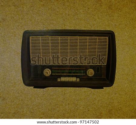Radio retro on grunge paper background - stock photo