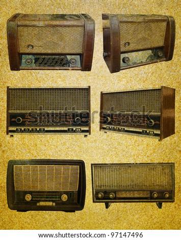 Radio retro set on  grunge paper background - stock photo