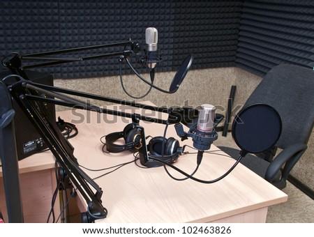 radio studio - stock photo