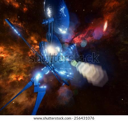 Radio telescope aiming at night sky - stock photo