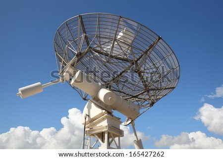 Radio Telescope Facing Skyward. One dish of a radio telescope array.